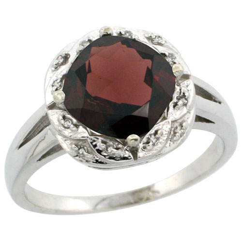 10k White Gold Natural Garnet Ring Cushion-cut 8x8mm Diamond Halo, sizes 5-10 #15298v3