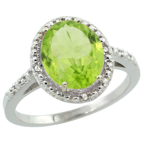 10K White Gold Diamond Natural Peridot Ring Oval 10x8mm, sizes 5-10 #15337v3