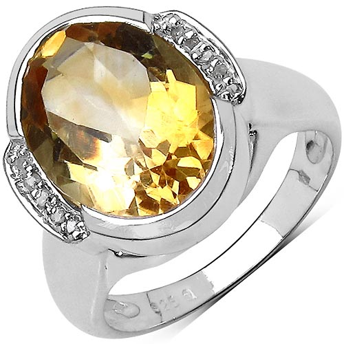 Citrine:Oval/14x10mm 1/5.50 ctw + Diamond White:Round/ 1.00mm 10/0.06 ctw #33743v3