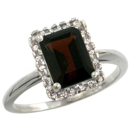 10K White Gold Diamond Natural Garnet Ring Emerald-cut 8x6mm, sizes 5-10 #15295v3