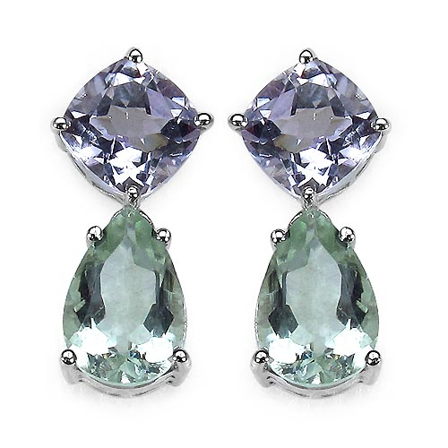 Amethyst Pink:Cushion/8.00mm 2/4.40 ctw + Amethyst Green:Pears/12x8mm 2/5.00 ctw #33536v3
