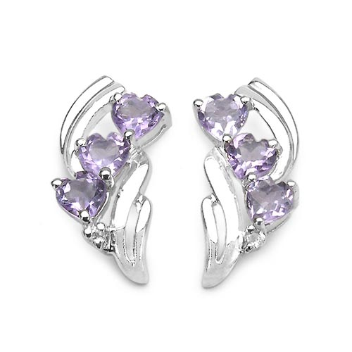 Amethyst:Heart Shape/4.00mm 6/1.50 ctw + Topaz White:Round/1.30mm 2/0.03 ctw #29247v3