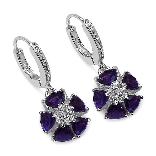 Amethyst:Trillion/ 5.00mm 2 /0.90 ctw + Amethyst:Trillion/ 4.00mm 8 /2.00 ctw + Topaz White:Round/1.50mm 12 /0.24 ctw #29138v3