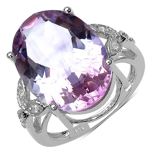 Amethyst:Oval/18x13mm 1/10.41 ctw + Topaz White:Round/1.30mm 6/0.09 ctw #33751v3