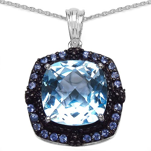 Tanzanite:Round/ 1.80mm 24/0.72 ctw + Topaz Blue:Cushion/ 14.00mm 1/12.79 ctw #29412v3