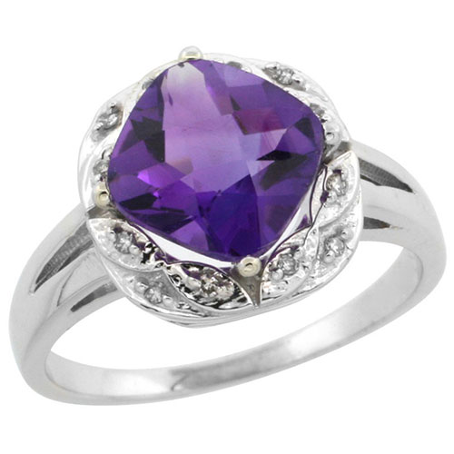 14K White Gold Natural Amethyst Ring Cushion-cut 8x8mm Diamond Halo, sizes 5-10 #15167v3