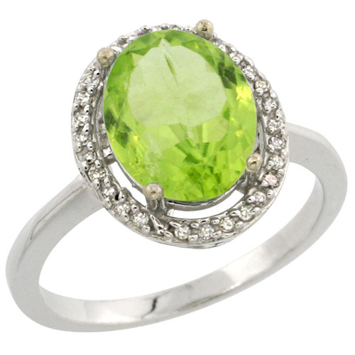 10K White Gold Diamond Natural Peridot Ring Oval 10x8mm, sizes 5-10 #15340v3