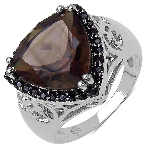 Topaz Smoky:Trillion/12.00mm 1/4.50 ctw + Black Spinel:Round/1.20mm 28/0.28 ctw #33777v3