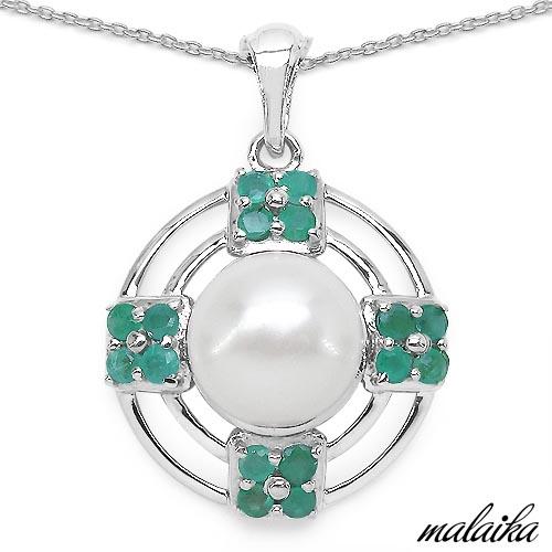Emerald:Round/2.50mm 16/1.07 ctw + Pearl:Round 1/4.00 ctw #29362v3