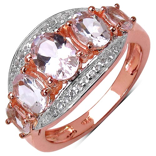 Morganite:Oval/7x5mm 1/0.85 ctw + Morganite:Oval/6x4mm 2/0.90 ctw + Morganite:Oval/5x3mm 2/0.60 ctw + Topaz White:Round/1.00mm 22/0.11 ctw #33765v3