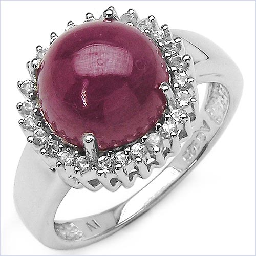 Ruby:Round/10.00mm 1 /6.55 ctw + Topaz White:Round/1.20mm 26 /0.26 ctw #33746v3