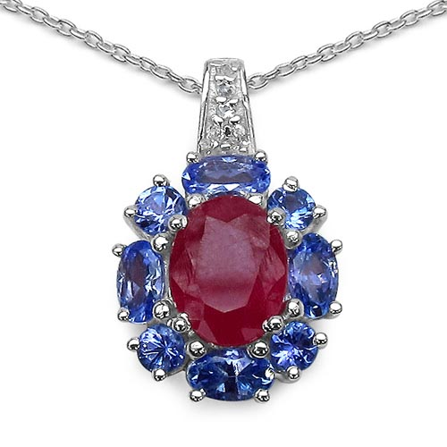 Ruby:Oval/9x7mm 1/2.51 ctw + Tanzanite:Oval/5x3mm + Tanzanite:Round/3.00mm 4/0.40 ctw + Topaz White:Round/1.30mm 5/0.05 ctw #29389v3