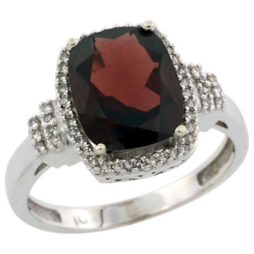 10k White Gold Natural Garnet Ring Cushion-cut 9x7mm Diamond Halo, sizes 5-10 #15291v3