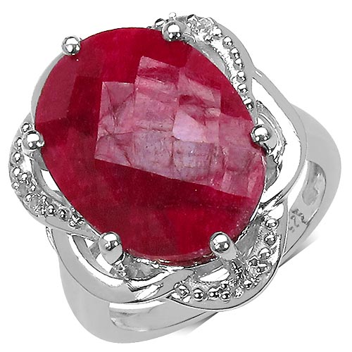 Ruby:Oval/18x13mm 1 /12.15 ctw + Topaz White:Round/1.30mm 6 /0.09 ctw #33747v3