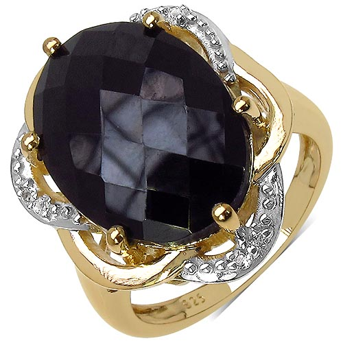 Black Spinel:Oval/18x13mm 1 /13.70 ctw + Topaz White:Round/1.30mm 6 /0.12 ctw #33749v3