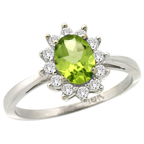 10k White Gold Natural Peridot Ring Oval 7x5mm Diamond Halo, sizes 5-10 #15351v3