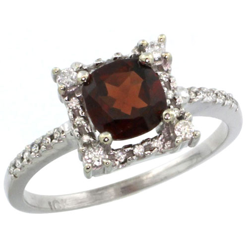 10k White Gold Natural Garnet Ring Cushion-cut 6x6mm Diamond Halo, sizes 5-10 #15296v3