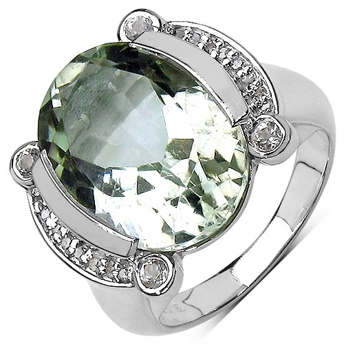 Amethyst Green:Oval/16x12mm 1/8.20 ctw + Diamond White:Round/ 0.80mm 16/0.09 ctw + Diamond White:Round/ 1.00mm #33742v3