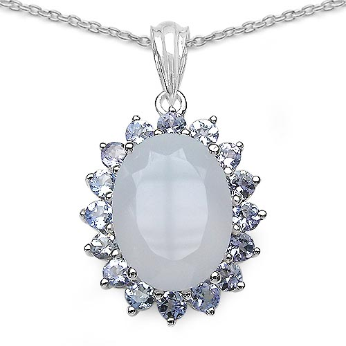 Blue Chalcedony:Oval/16x12mm 1/8.00 ctw + Tanzanite:Round/3.00mm 16/1.6 ctw #29372v3