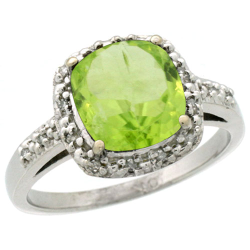 10K White Gold Diamond Natural Peridot Ring Cushion-cut 8x8mm, sizes 5-10 #15352v3