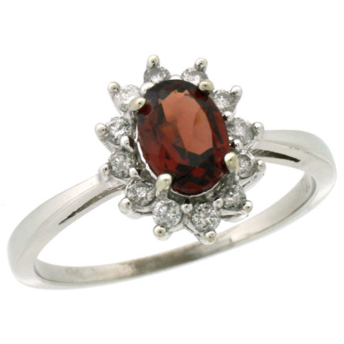 10k White Gold Natural Garnet Ring Oval 7x5mm Diamond Halo, sizes 5-10 #15301v3
