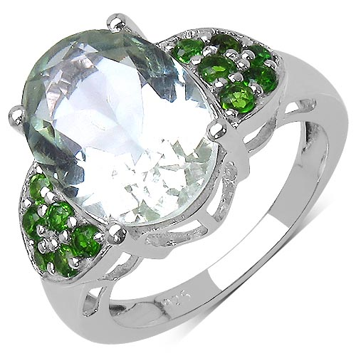 Amethyst:Oval/14x10mm 1 /5.30 ctw + Chrome Diopside:Round/2.00mm 12 /0.60 ctw #33740v3