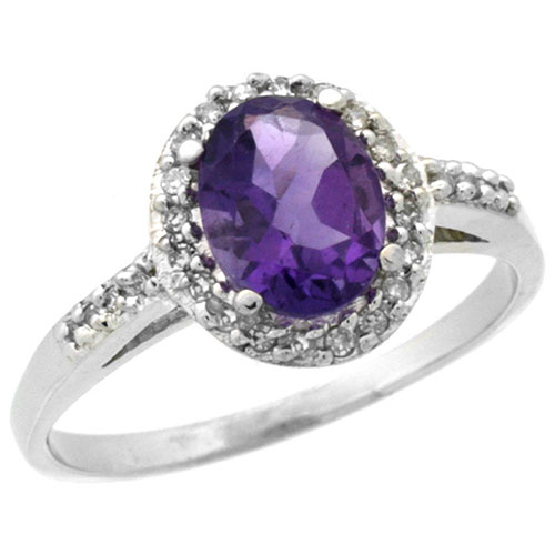 14K White Gold Diamond Natural Amethyst Ring Oval 8x6mm, sizes 5-10 #15177v3
