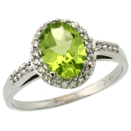 10K White Gold Diamond Natural Peridot Ring Oval 8x6mm, sizes 5-10 #15353v3