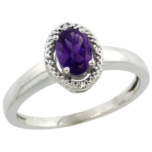 14K White Gold Diamond Halo Natural Amethyst Ring Oval 6X4 mm, sizes 5-10 #15147v3
