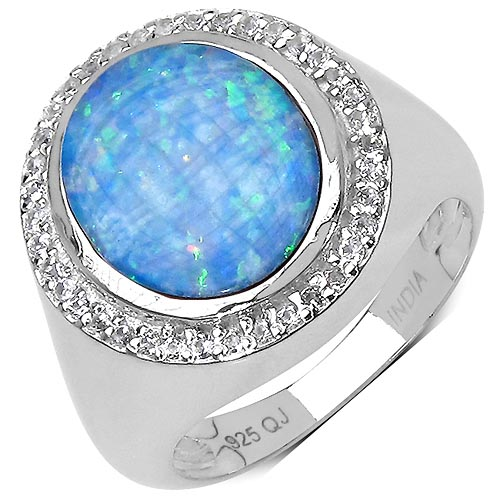 Opal:Oval/12x10mm 1 /2.14 ctw + Topaz White:Round/1.00mm 39 /0.20 ctw #33775v3