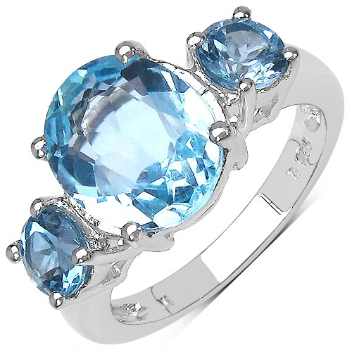 Topaz Blue:Oval/11x9mm 2/1.20 ctw + Topaz Blue:Round/ 5.00mm #33772v3