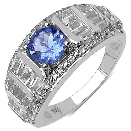 Tanzanite:Round/6.00mm 1 /0.74 ctw + Topaz White:Baguette/3.00x1.50x1.10mm 24 /1.44 ctw + Topaz White:Round/1.00mm 24 /0.12 ctw #33766v3