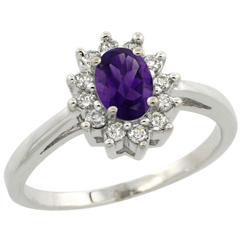 14K White Gold Natural Amethyst Flower Diamond Halo Ring Oval 6X4mm, sizes 5-10 #15145v3