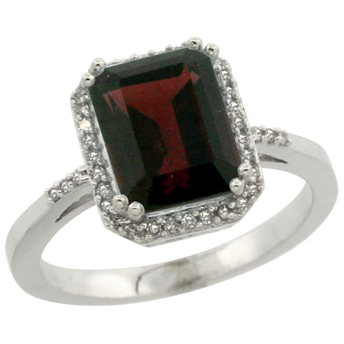 10K White Gold Diamond Natural Garnet Ring Emerald-cut 9x7mm, sizes 5-10 #15294v3