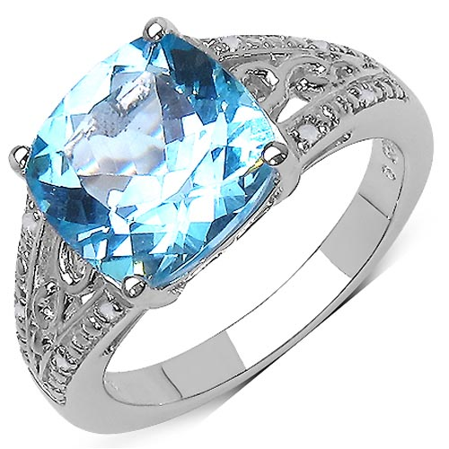Diamond White:Round/ 1.00mm 8/0.05 ctw + Topaz Blue:Cushion/ 10.00mm 1/5.11 ctw #33764v3