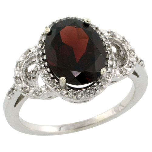 10K White Gold Diamond Halo Natural Garnet Ring Oval 10X8 mm, sizes 5-10 #15292v3