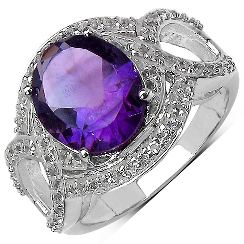 Amethyst:Oval/11x9mm 1/3.20 ctw + Topaz White:Round/1.00mm 62/0.31 ctw #33709v3