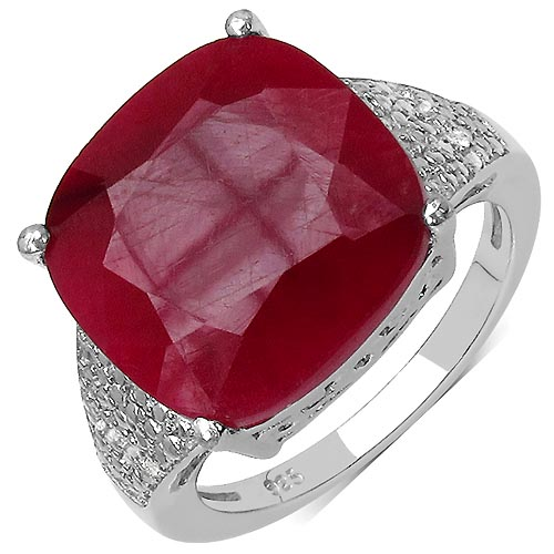 Ruby:Cushion/14.00mm 1/14.42 ctw + Topaz White:Round/1.00mm 10/0.05 ctw #33755v3