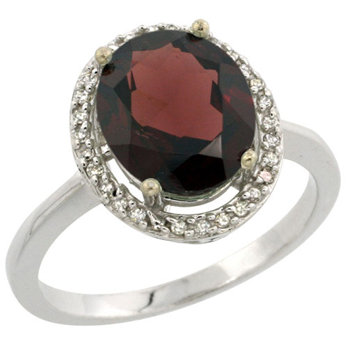 10K White Gold Diamond Natural Garnet Ring Oval 10x8mm, sizes 5-10 #15287v3