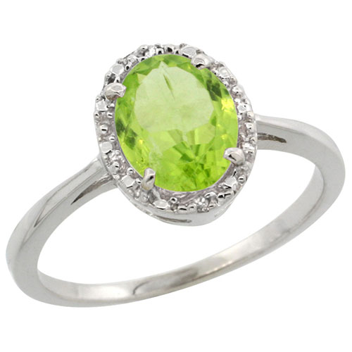 10k White Gold Natural Peridot Ring Oval 8x6 mm Diamond Halo, sizes 5-10 #15341v3