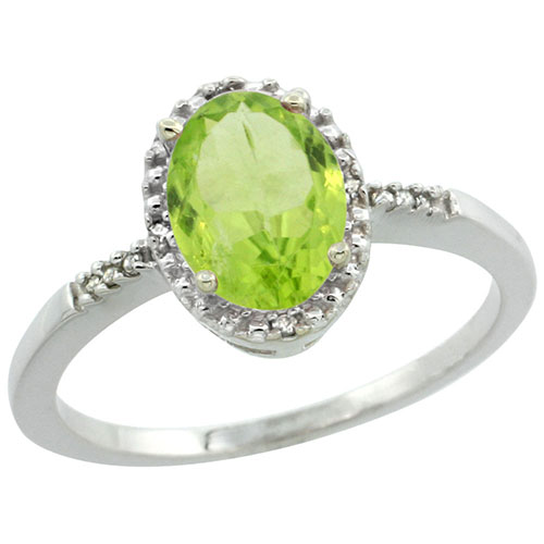 10K White Gold Diamond Natural Peridot Ring Oval 8x6mm, sizes 5-10 #15339v3