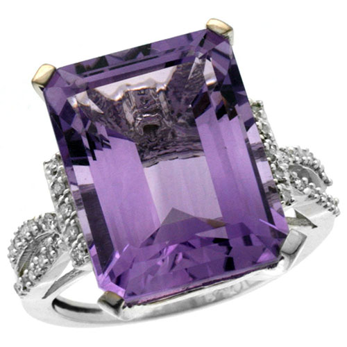 14K White Gold Natural Diamond Amethyst Ring Emerald-cut 16x12mm, sizes 5-10 #15174v3