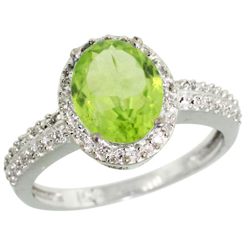 10K White Gold Diamond Natural Peridot Ring Oval 9x7mm, sizes 5-10 #15355v3