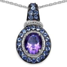 Amethyst:Oval/10x8mm 1/2.15 ctw + Tanzanite:Round/2.00mm 26/0.91 ctw #29387v3