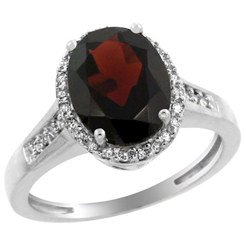 10K White Gold Diamond Natural Garnet Ring Oval 10x8mm, sizes 5-10 #15282v3