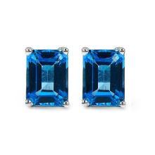 3.90 Carat Genuine Swiss Blue Topaz Sterling Silver Earrings #76664v3