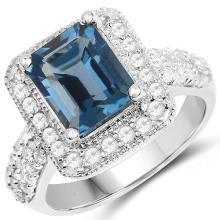5.14 Carat Genuine London Blue Topaz & White Topaz .925 Sterling Silver Ring #76771v3