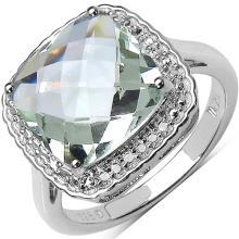 4.36 Carat Genuine Green Amethyst .925 Sterling Silver Ring #76655v3