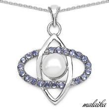 Malaika 3.40 Carat Genuine Tanzanite & Pearl .925 Sterling Silver Pendant #76841v3