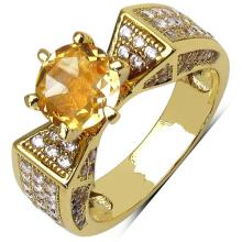 14K Yellow Gold Plated 2.15 Carat Citrine and White Cubic Zircon Brass Ring #76933v3
